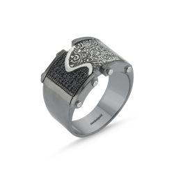 SembolGold - Erkek Gümüş Yüzük Siyah&Beyaz Özel Tasarım ALP-0452610