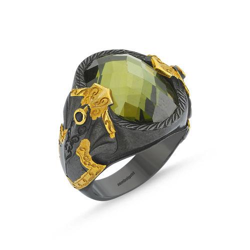 SembolGold - Erkek Gümüş Yüzük Yosun Yeşili KUWARS Taşlı Özel Tasarım ALP-0452580
