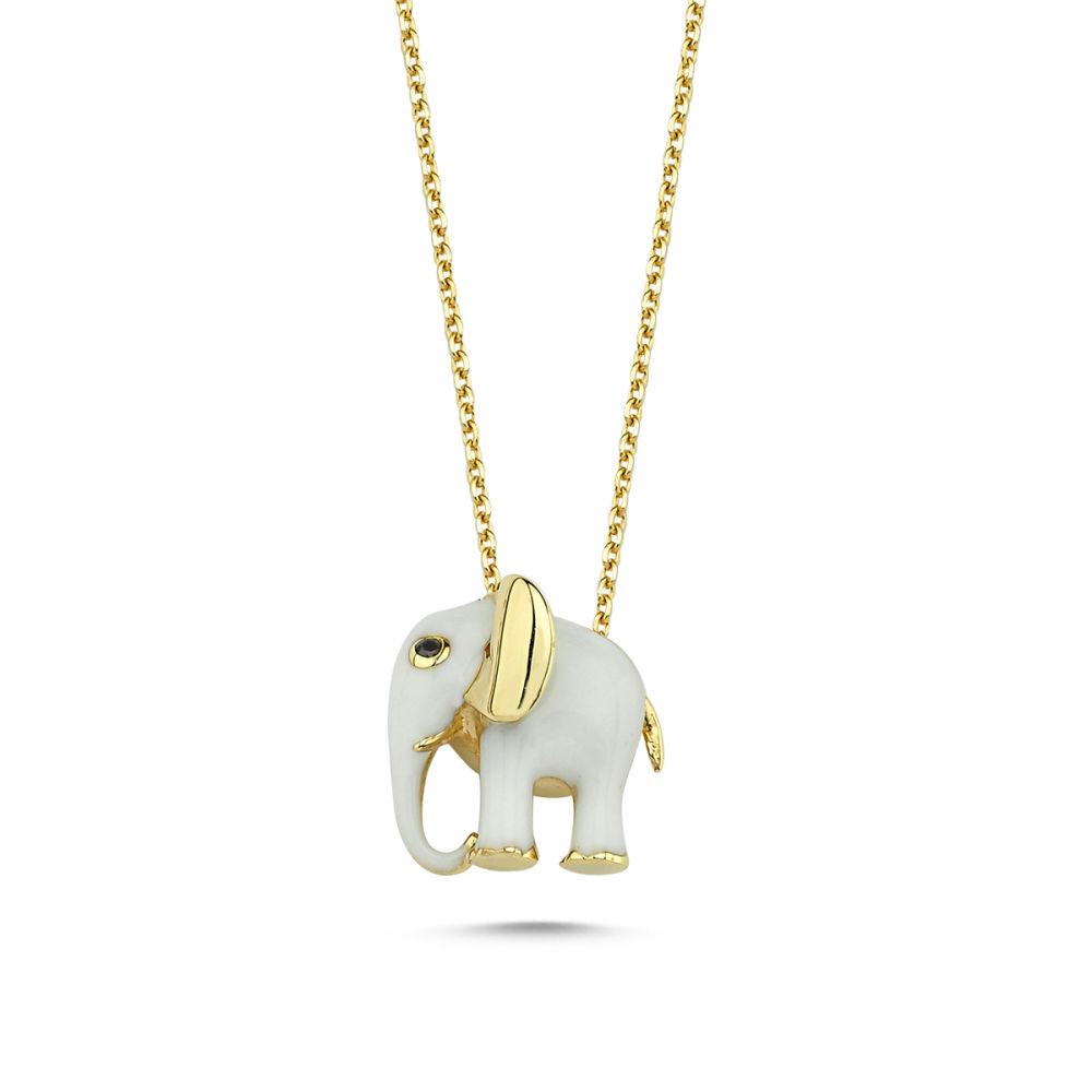 Fil Altın Kolye Beyaz Mineli Özel Tasarım
