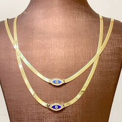 Göz Boncuk Mineli Altın Kolye Yassı Zincir - Thumbnail