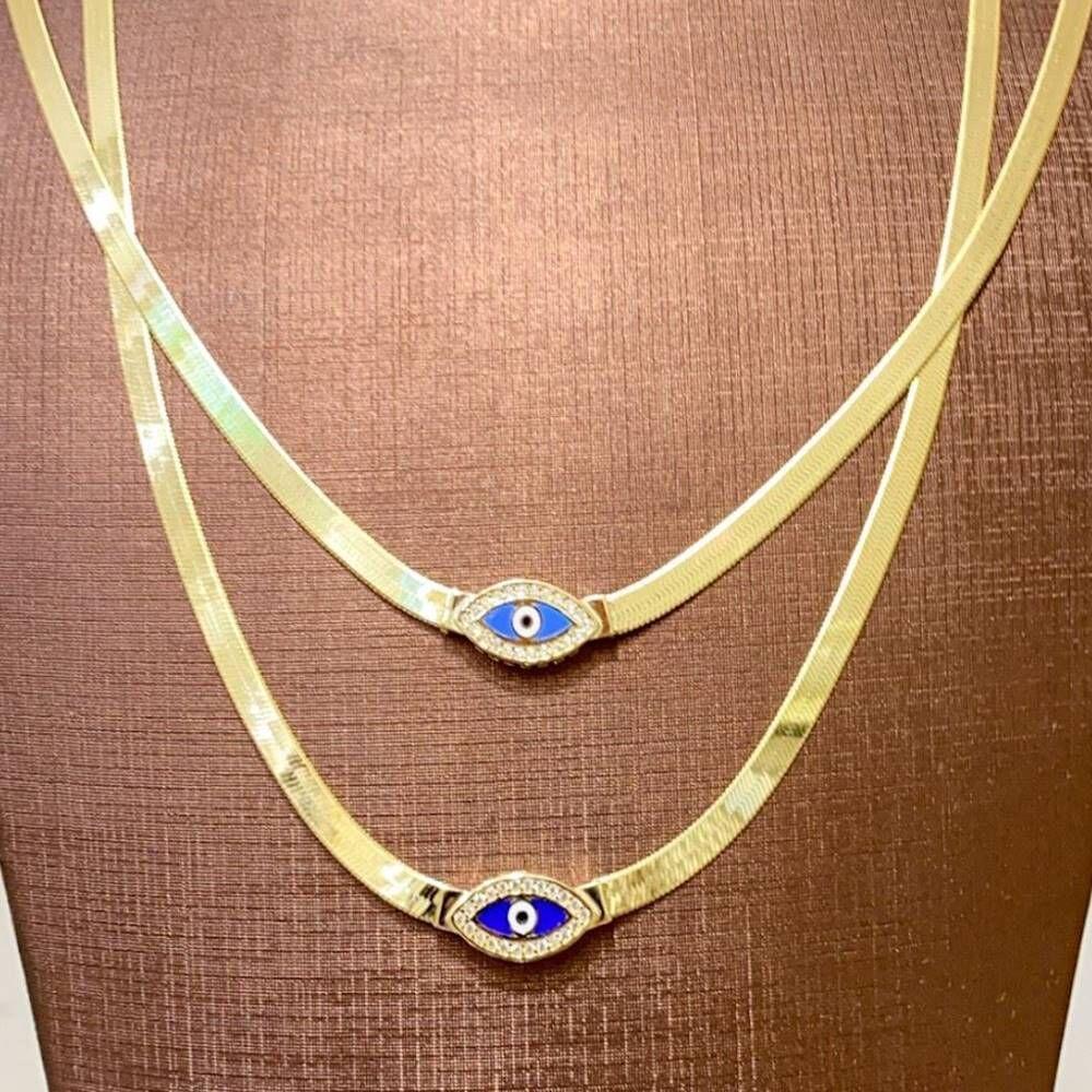 Göz Boncuk Mineli Altın Kolye Yassı Zincir