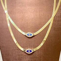 SembolGold - Göz Boncuk Mineli Altın Kolye Yassı Zincir (1)