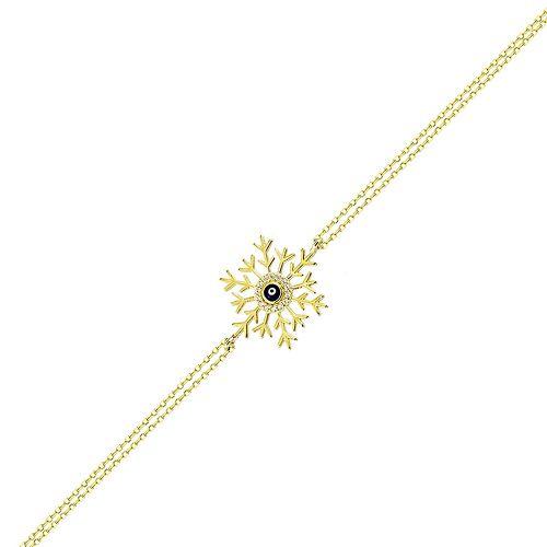 SembolGold - Gözlü Kartanesi Altın Zincir Bileklik 14K Gold