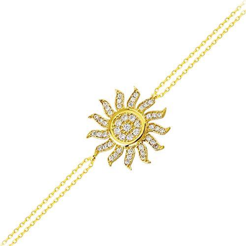 SembolGold - Güneş Altın Zincir Bileklik 14K Gold 17 Cm