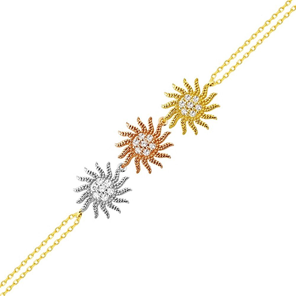 Güneş Altın Zincir Bileklik 14K Gold Tricolor 17 Cm