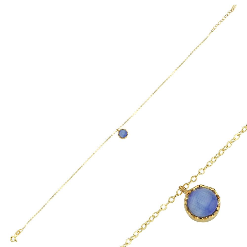 Halhal Altın Bileklik Mavi Mercan 14K Gold 20 - 25 cm