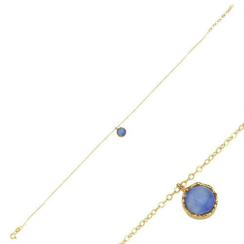 SembolGold - Halhal Altın Bileklik Mavi Mercan