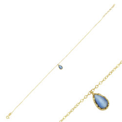 SembolGold - Halhal Altın Bileklik Mavi Mercan Damla 14K Gold 20 - 25 cm