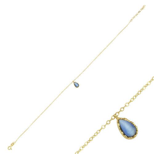 SembolGold - Halhal Altın Bileklik Mavi Mercan Damla