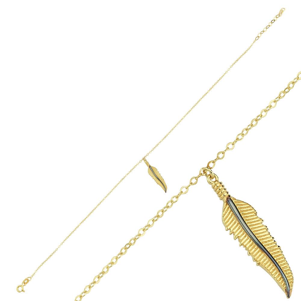 Halhal Altın Bileklik Mineli Yaprak 14K Gold 20 - 25 cm