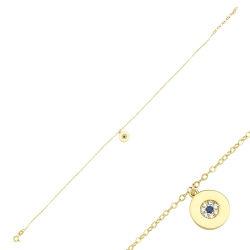 SembolGold - Halhal Altın Bileklik Nazarlı 14K Gold 20 - 25 cm