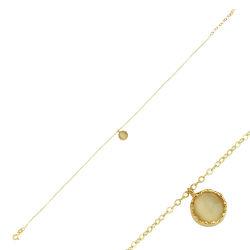 SembolGold - Halhal Altın Bileklik Sarı Mercan 14K Gold 20 - 25 cm