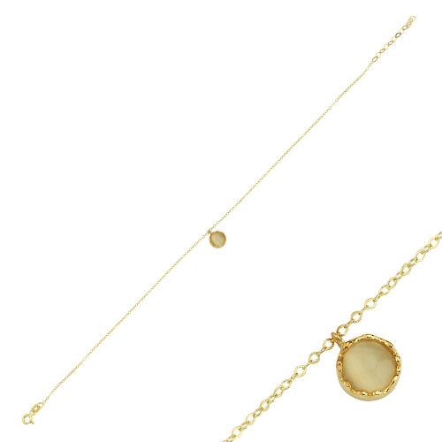 SembolGold - Halhal Altın Bileklik Mercan 20 - 25 cm