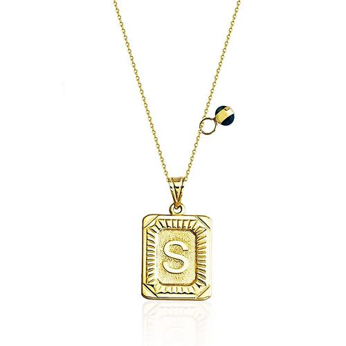 SembolGold - Harf Kolye 14K Altın 1,50 Gr Gold Nazarboncuklu