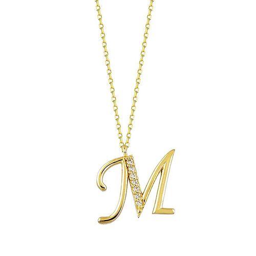 SembolGold - Harf Kolye Taşlı 14K Altın