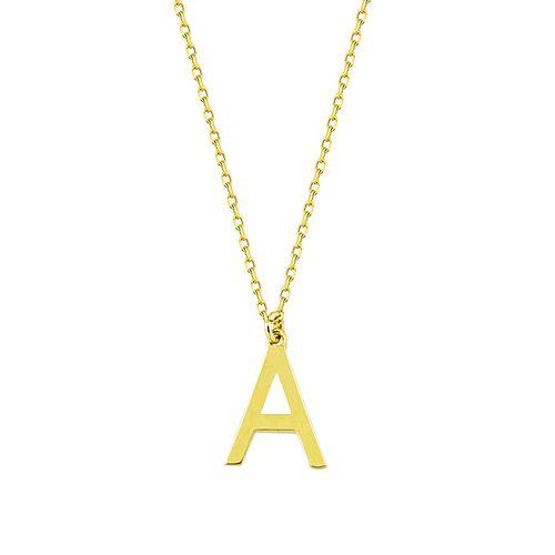 SembolGold - Harf Kolye Taşsız 14K Altın