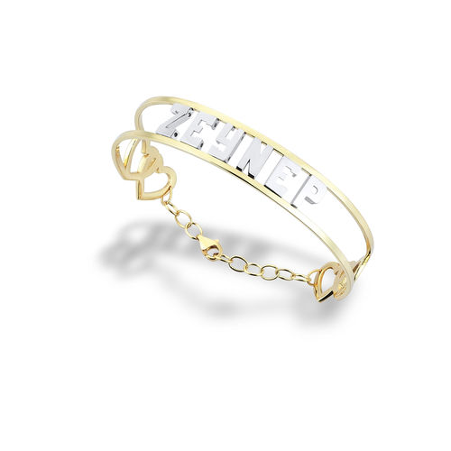 SembolGold - İsimli Altın Kelepce Yeni Tasarım 14 K Gold Taşsız