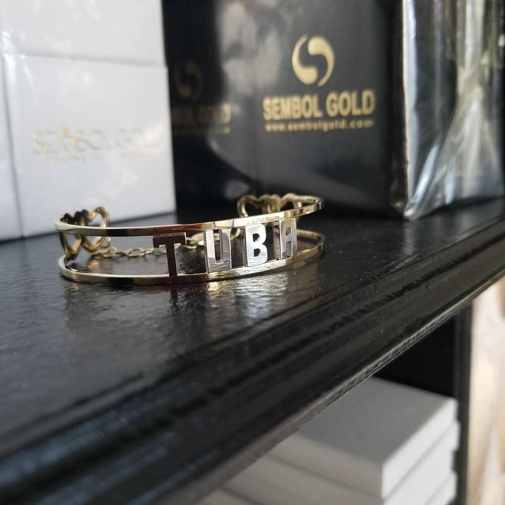 İsimli Altın Kelepce Yeni Tasarım 14 K Gold Taşsız