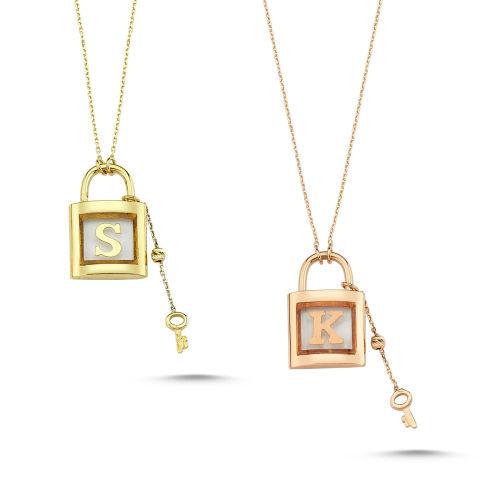 SembolGold - İsimli Kolye 14K Altın Sarı, Beyaz, Rose Mercan Taşlı