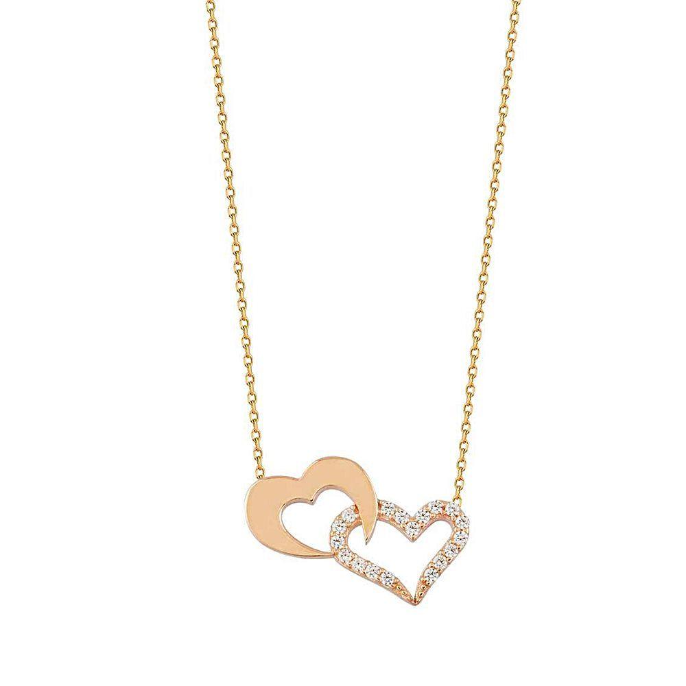 Kalp Altın Kolye Sen ve Ben 14K Rose Gold