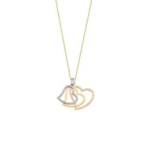 SembolGold - Kalp Kolye 14K Altın Tria 3 Renk