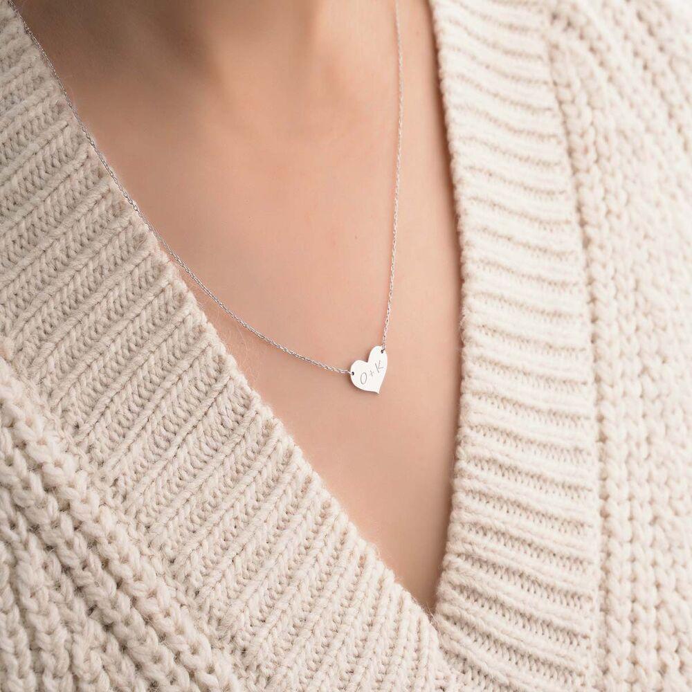 Kalp Plaka Altın Harf Kolye 14 Ayar Beyaz Altın