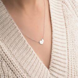 Kalp Plaka Altın Harf Kolye 14 Ayar Beyaz Altın - Thumbnail