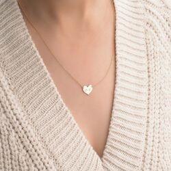Kalp Plaka Altın Harf Kolye 14 Ayar Sarı Altın - Thumbnail