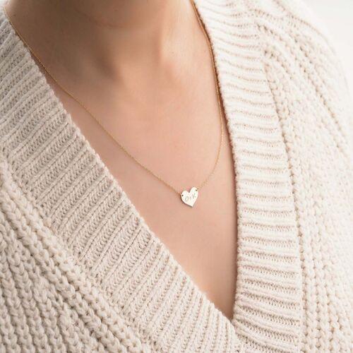 SembolGold - Kalp Plaka Altın Harf Kolye 14 Ayar Sarı Altın (1)