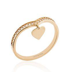 SembolGold - Kalp Rose Altın Yüzük 14K Gold Sarkık R5447