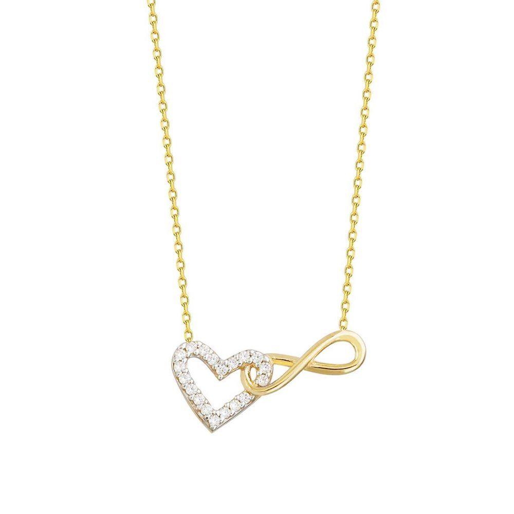 Kalp Sonsuzluk Altın Kolye 14K Gold