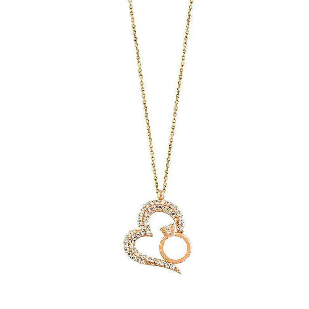 Kalp Tektaş Altın Kolye 14K Rose Gold