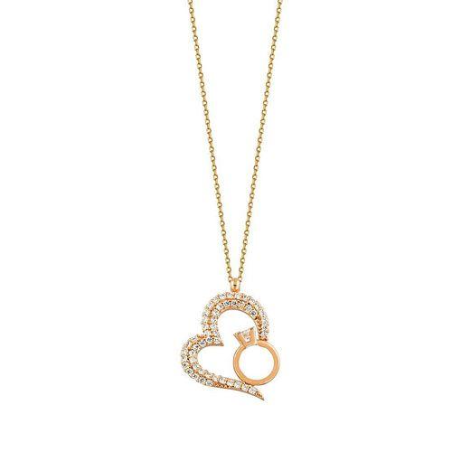 SembolGold - Kalp Tektaş Altın Kolye 14K Rose Gold