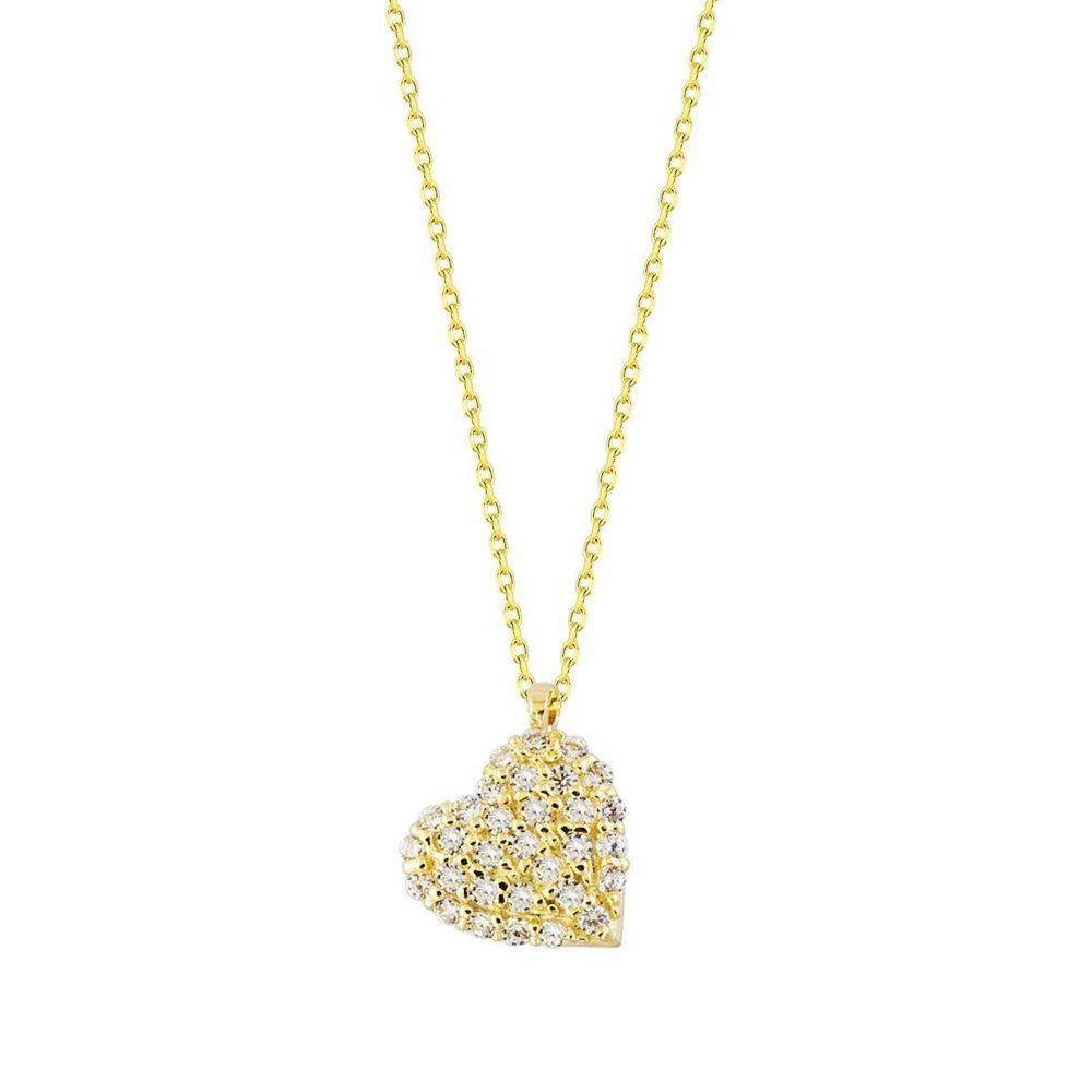 Kalp'li Altın Kolye Taşlı 14K Gold Minimal