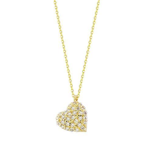SembolGold - Kalp'li Altın Kolye Taşlı 14K Gold Minimal