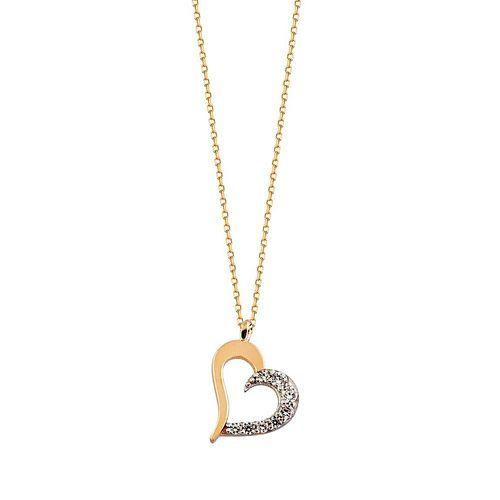 SembolGold - Kalp'li Altın Kolye Taşlı 14K Rose Gold Yarı Taşlı