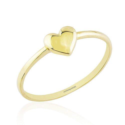 SembolGold - Kalp'li Altın Yüzük Sade Tasarım 14 K Gold