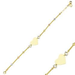 SembolGold - Kalp'li Plaka Altın Bileklik 14K Gold Dorikalı İsim Yazılır