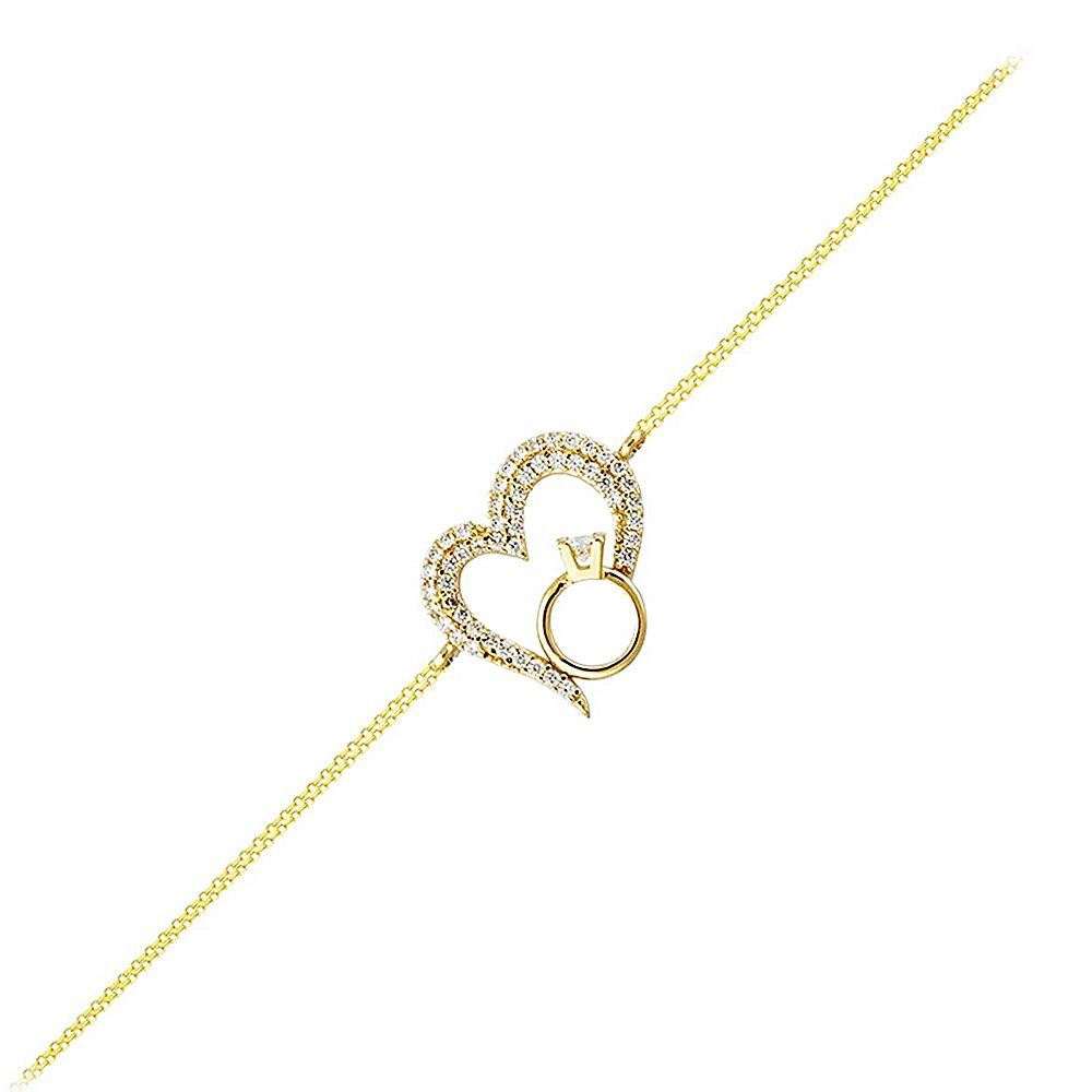 Kalp'li Tektaş Altın Zincir Bileklik 14K Gold 17 Cm
