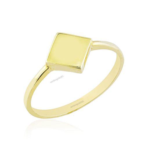 SembolGold - Karo Sarı Altın Yüzük 14K R5451