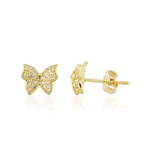 SembolGold - Kelebek Altın Küpe Taşlı