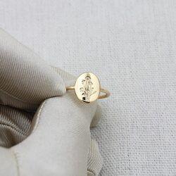 Kişiye Özel Altın Yüzük 14K Şövalye - Thumbnail