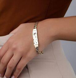 Kişiye Özel İsimli Altın Bileklik 14 Ayar Gurmet Zincir - Thumbnail