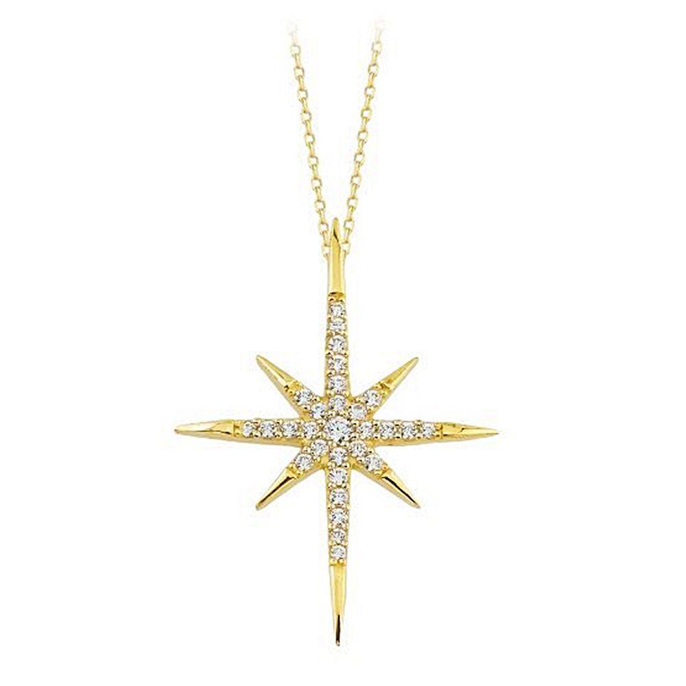 Kutup Yıldızı Altın Kolye 14K Gold Taşlı