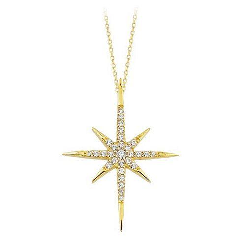 SembolGold - Kutup Yıldızı Altın Kolye 14K Gold Taşlı