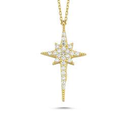 SembolGold - Kutup Yıldızı Altın Kolye 14K Gold Zirconia 2cm