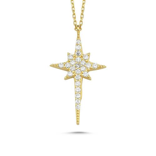 SembolGold - Kutup Yıldızı Altın Kolye 14K Gold Zirconia Tasarım 2cm