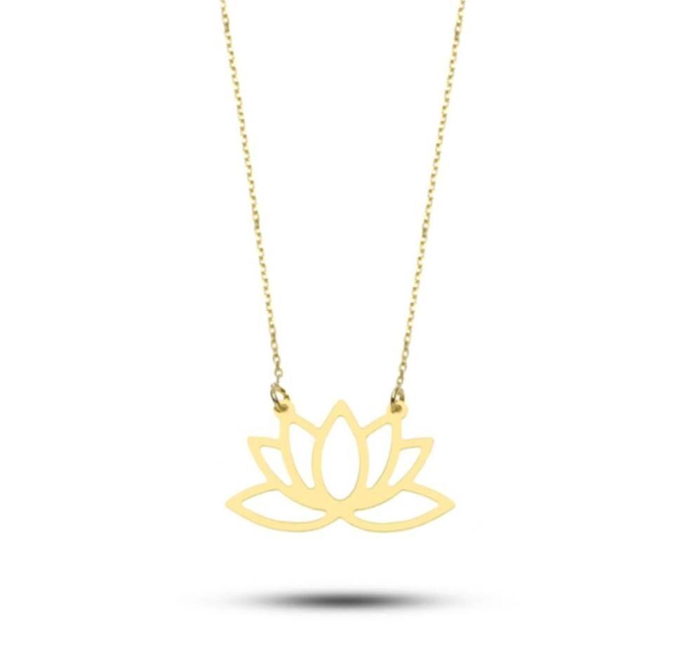Lotus Çiçeği Altın Kolye Minimal Tasarım