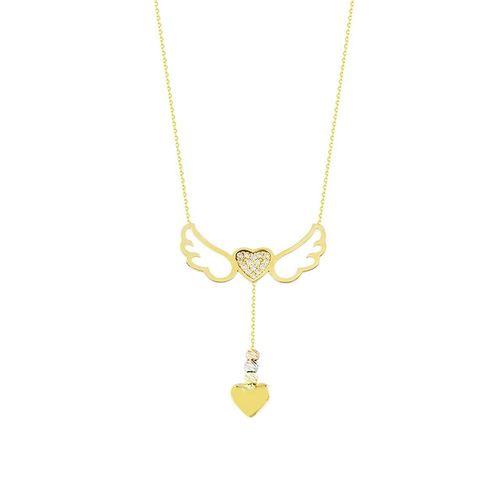SembolGold - Melek Kanad Altın Kolye Kalpli 14K Gold