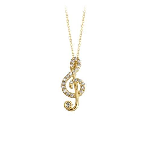 SembolGold - Müzik Notası Altın Kolye 14K Gold Taşlı